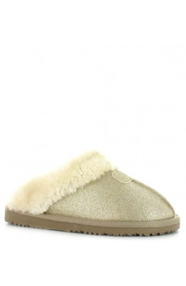 Faux Fur Glitter Slipper Gold