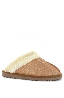 Faux Fur Glitter Slipper Rose