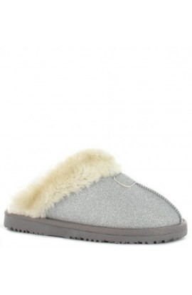 Faux Fur Glitter Slipper Silver