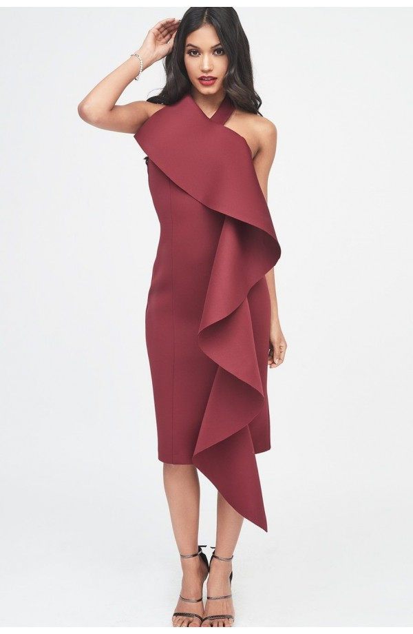 Lavish Alice Scuba Frill Halter Midi Dress LA945