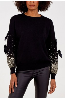 Bow And Sequin Sleeve Jumper Black