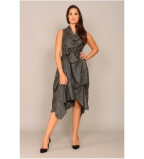 Wrap Ruched Dress Black