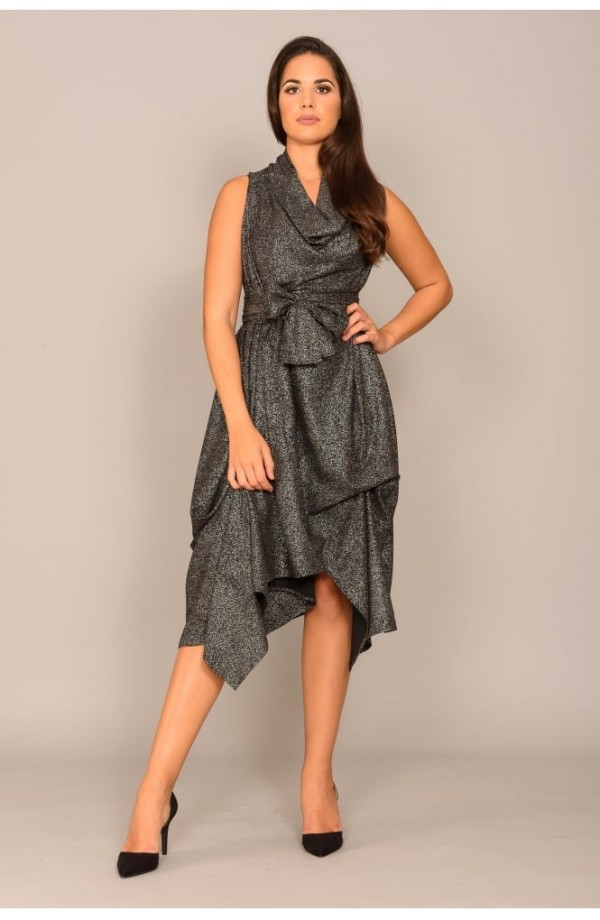 Wrap Ruched Dress Black
