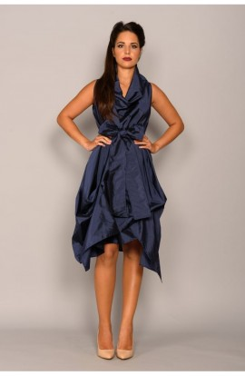 Wrap Ruched Dress Navy