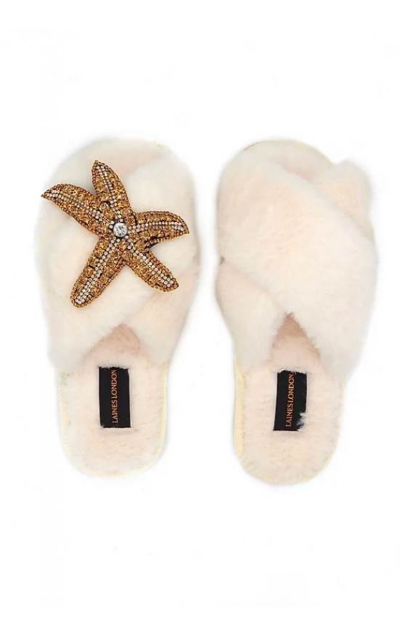 Starfish Brooch Slipper Cream