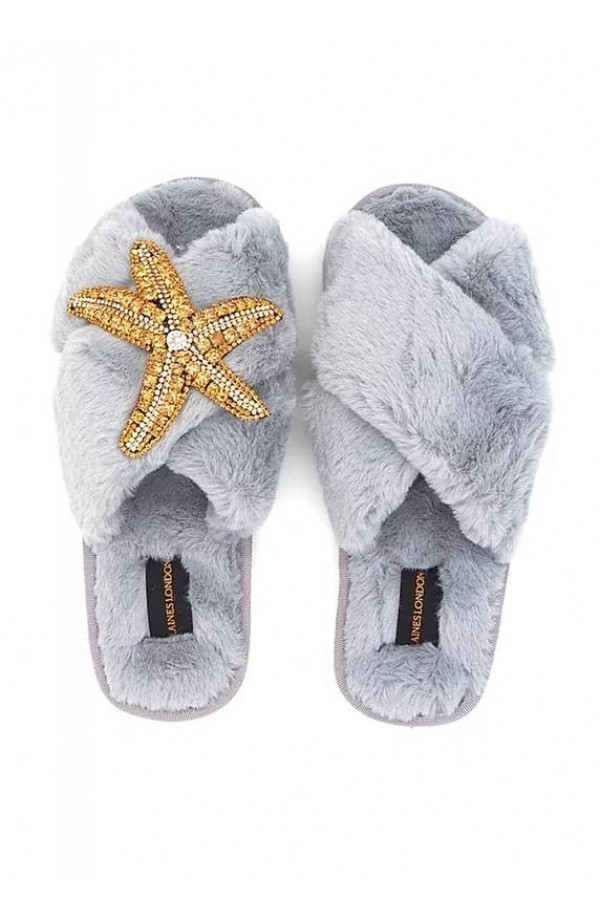 Starfish Brooch Slipper Grey