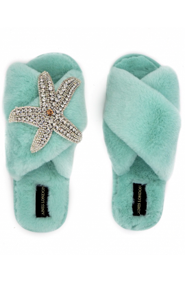 Silver Starfish Slipper Turquoise