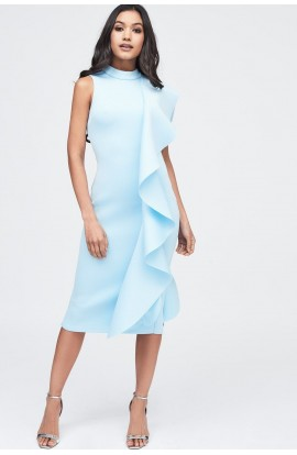 Lavish Alice Scuba Frilled Midi Dress LA11097