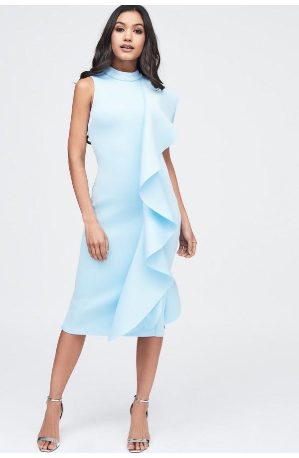 Lavish Alice Scuba Frilled Midi Dress LA11097
