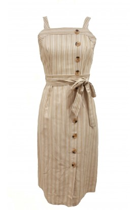 Stripe A-line Belted Dress With Buttons
