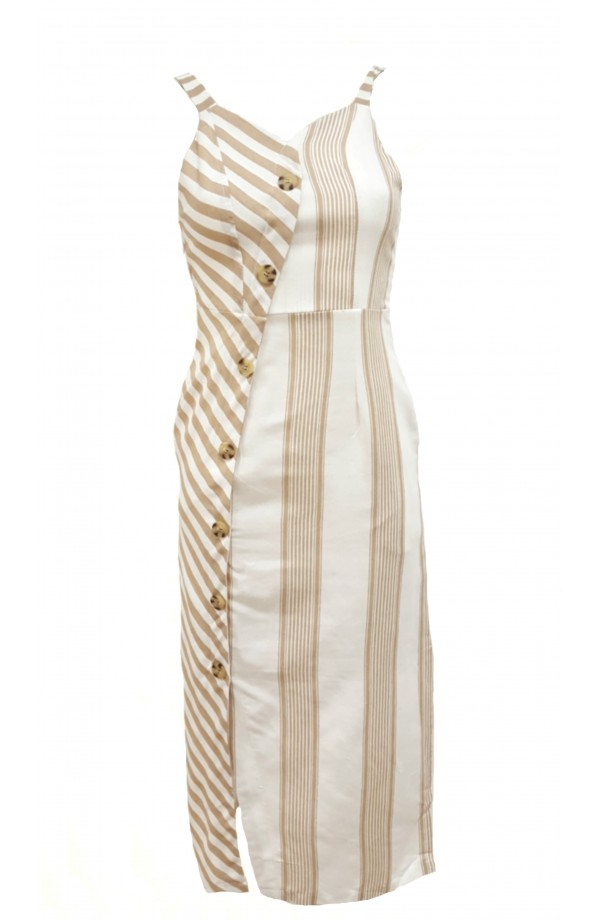 Button Front Stripe Dress