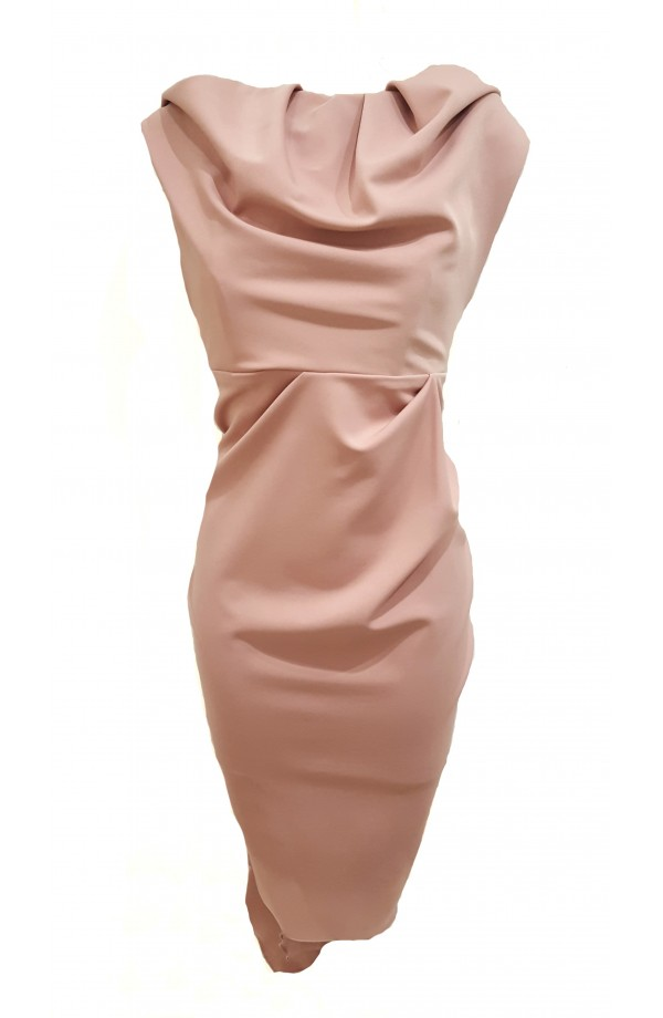 Kevan Jon Sian Drape Dress Blush