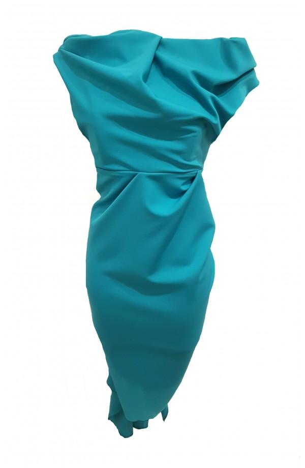 Kevan Jon Sian Drape Dress Turquoise
