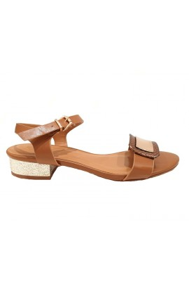 Buckle Front Flats Tan