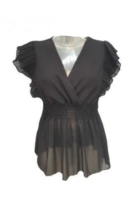 Elastic Waist Frill Sleeve Top Black