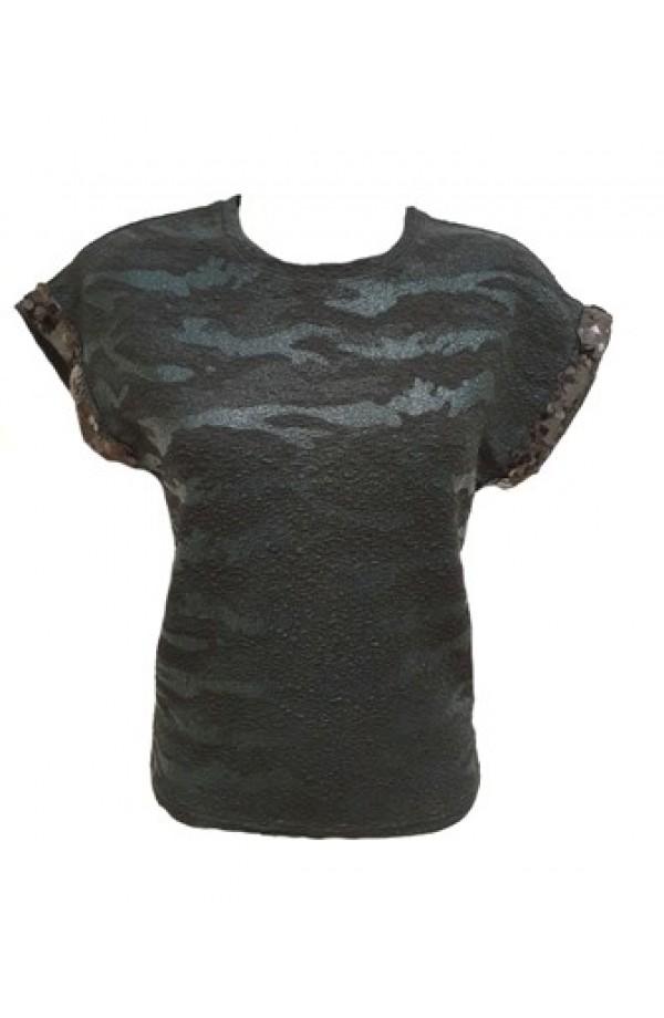 Foil Camouflage Top Black
