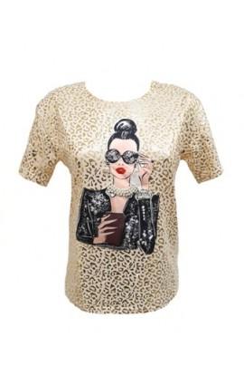 Foil Leopard Print Lady Top Gold