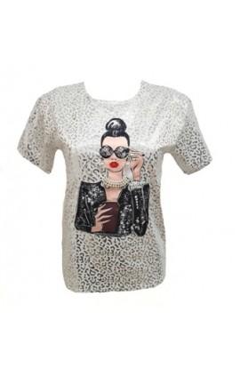Foil Leopard Print Lady Top Silver