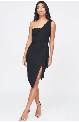 Lavish Alice Ponte Asymmetric One Shoulder Dress