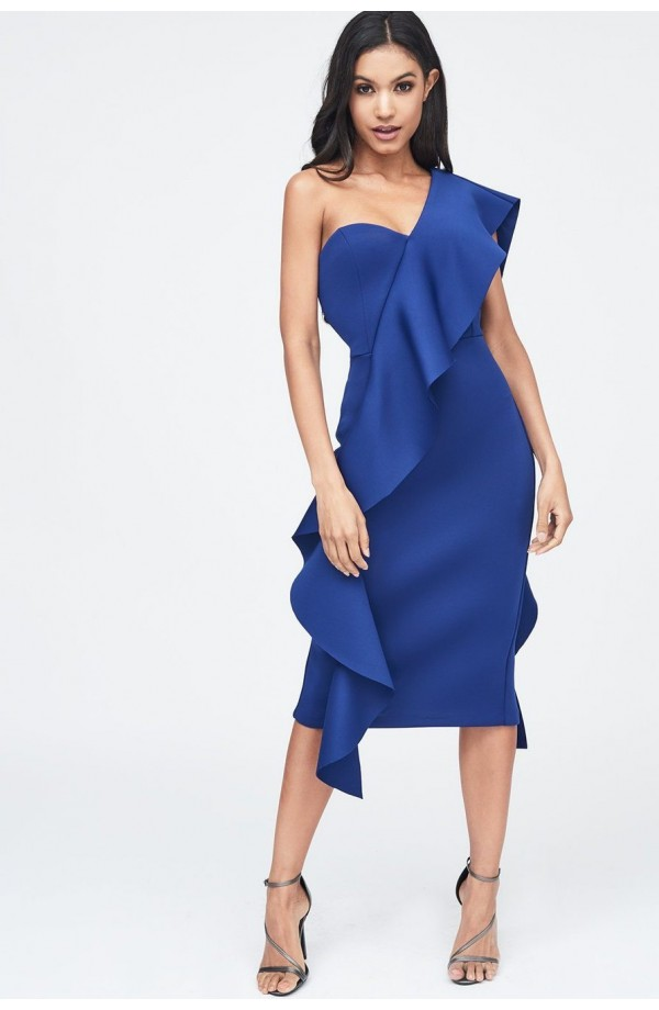 Lavish Alice Exaggerated Frill One Shoulder Scuba Midi Dress Blue LA11074