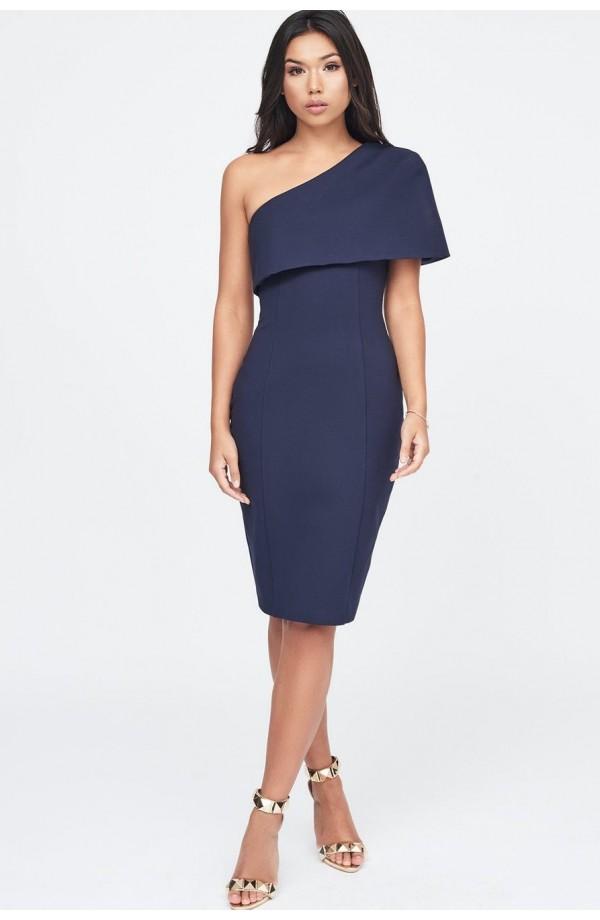 Lavish Alice One Shoulder Cape Midi  Dress LA11076