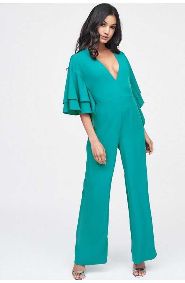 Lavish Alice Exaggerated Double Frill Sleeve wide Leg Jumpsuit LA11039