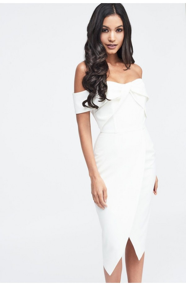 Lavish Alice Woven Twist Bardot Midi Dress LA11080
