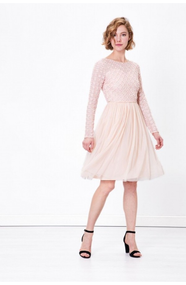 Beaded Floral Dress Pink