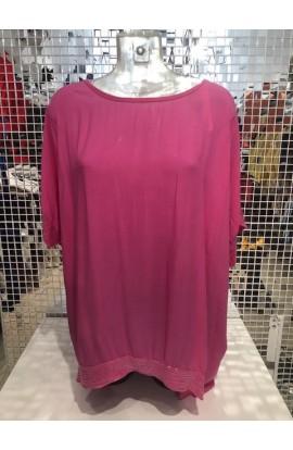 Sequin Trim Top Pink