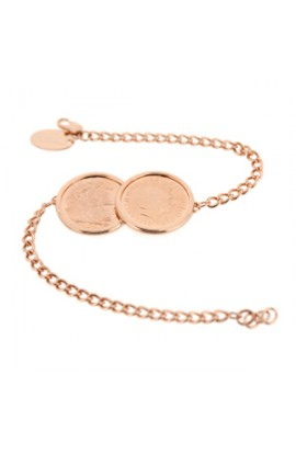 Iconic Two Coin Bracelet Rose Gold