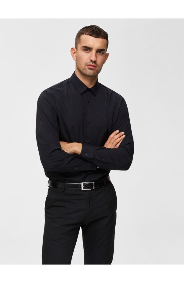 Preston Slim Fit Black Shirt