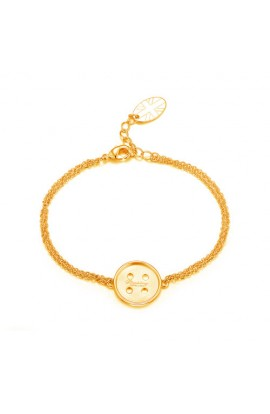 Cute As A  Button Bracelet Gold