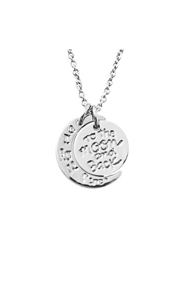 I Love You To The Moon And Back Necklace Silver