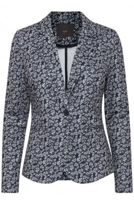 Ichi Kate Printed Blazer Navy