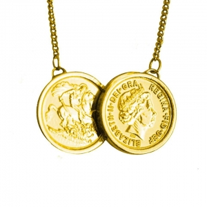 Two Coin Necklace Gold