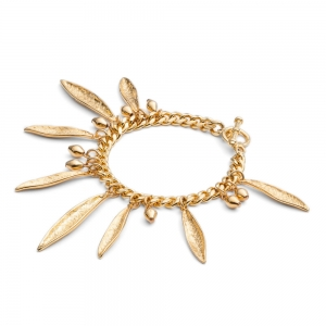 Pea Pod Statement Bracelet Gold