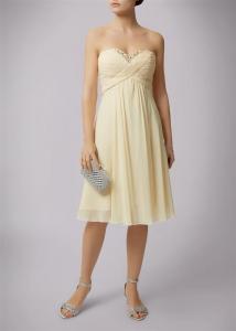 Beaded Sweetheart Strapless Dress Lemon