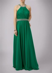 Beaded Bell Dress Emerald