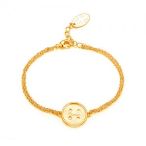 Cute As A  Button Bracelet Gold