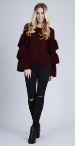 Cable Knit Frill Layered Jumper Wine
