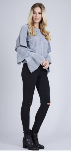 Cable Knit Frill Layered Jumper Grey