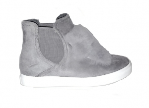 Fur Front Shoes Grey