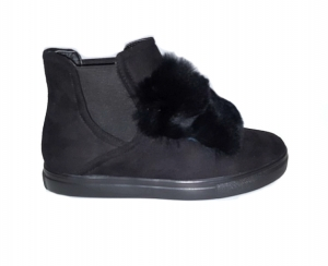 Fur Front Shoes Black