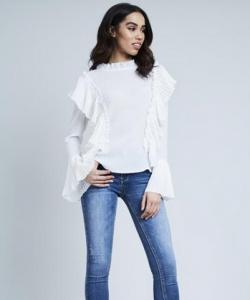 Crinkle Frill Bell Sleeve Blouse White
