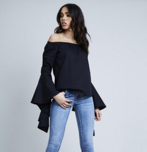Fluted Sleeve Bardot Top