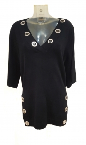 Eyelet V-Neck Jumper