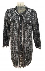 Long Boucle Chain Detail Jacket Black