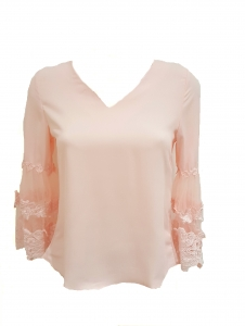 Drape Back Fluted Sleeve Top Pink