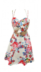 Floral And Jewel Print Cut Out Dress