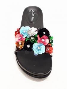 Flower Detail Sliders Black